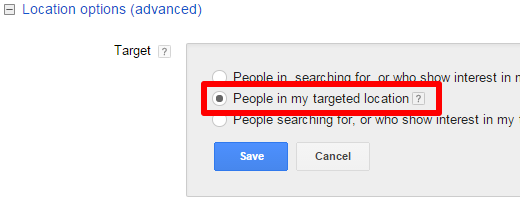 Advanced Location Options in AdWords Campaign Settings