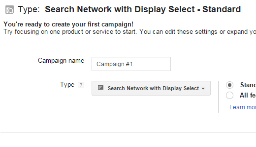 Campaign Type Settings in Google AdWords