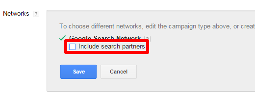 Exclude Search Partners in Google AdWords