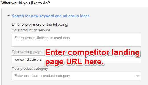 Paste Landing Page URL in Keyword Planner