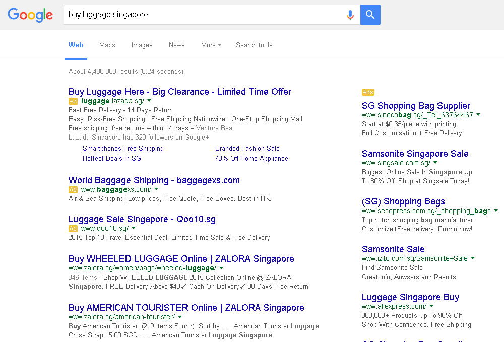 """buy luggage singapore"" Google Search Results"