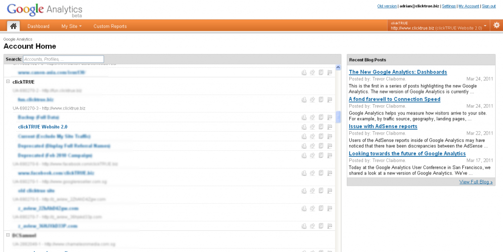 Account Home View - Google Analytics Version 5